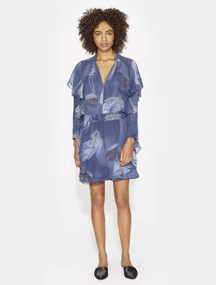 Halston FLUTTER DETAIL PRINTED SILK DRESS