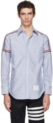 Thom Browne Blue Elastic Stripe Classic Point Collar Shirt