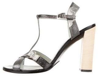 Gucci Embossed Leather Ankle Strap Sandals