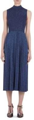 Carven Pleat Metallic Midi Dress