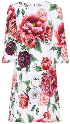Dolce & Gabbana Rose-printed crêpe dress
