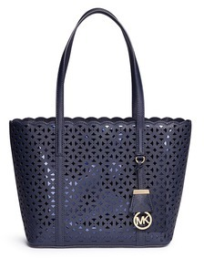 MICHAEL Michael Kors Michael Kors 'Desi' small floral perforated leather travel tote