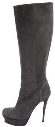 Saint Laurent Suede Knee-High Boots