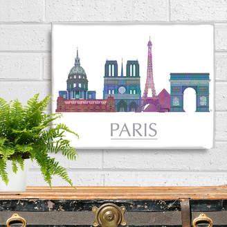 FabFunky Home Decor Paris Skyline Four, Rainbow
