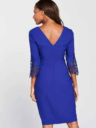 8e0d9e7b46d Little Mistress V Neck Cobalt Lace Detail Bodycon Dress
