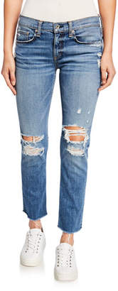 Rag & Bone Dre Low-Rise Ankle Slim Boyfriend Jeans with Ripped Knees