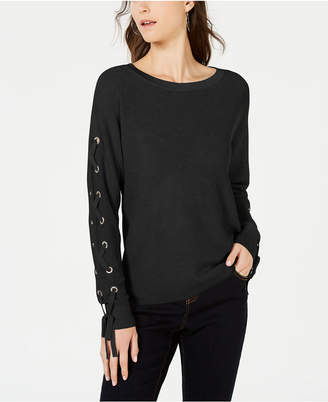 INC International Concepts I.n.c. Lace-Up Grommet Sleeve Pullover Sweater