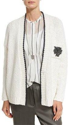 Brunello Cucinelli Crest-Pocket Boyfriend Cardigan, Multi $1,595 thestylecure.com