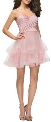 La Femme Tiered Tulle Minidress