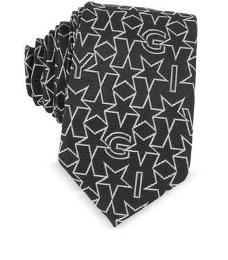 Givenchy Black Silk Narrow Tie W/silver Woven Stars