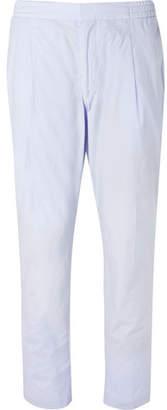 Sky-Blue Drew Slim-Fit Cotton-Poplin Drawstring Suit Trousers