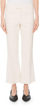 Isabel Marant Mid-Rise Flared Stretch-Cotton Cropped Pants