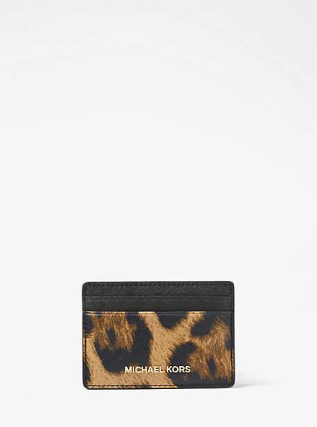 Michael Kors Jet Set Travel Leopard Saffiano Leather Card Case - BROWN - STYLE