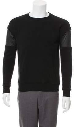 Rag & Bone Leather-Accented Crew Neck Sweatshirt
