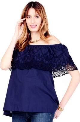 Ingrid & Isabel R) Lace Off the Shoulder Maternity Top