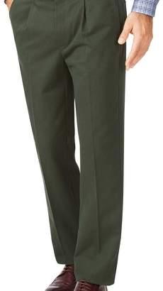 Charles Tyrwhitt Dark green classic fit single pleat non-iron chinos