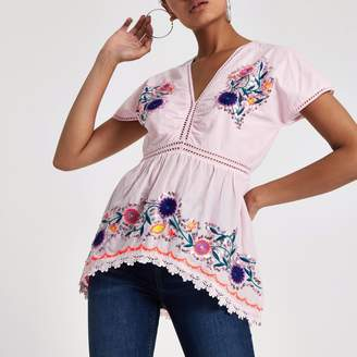 River Island Womens Pink embroidered smock top