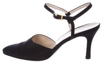 Chanel Satin Ankle-Strap Pumps
