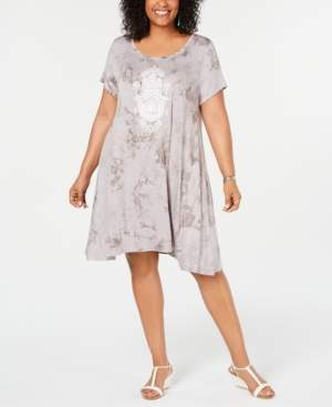 5ee1584b4a928 Style & Co Plus Size Tie-Dyed Wash Graphic T-Shirt Dress