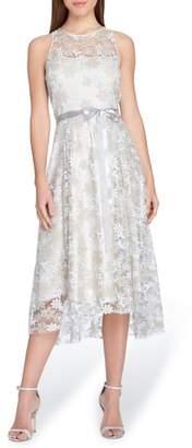 Tahari Sleeveless Embroidered Midi Dress