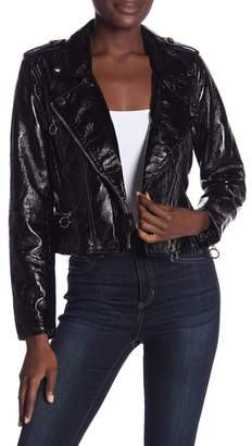 Blank NYC BLANKNYC Denim Faux Patent Leather Jacket