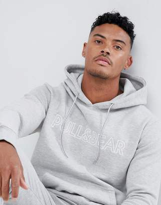 Pull&Bear hoodie in gray with logo