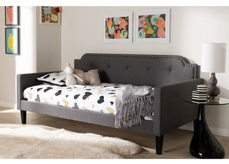 Baxton Studio Packer Modern and Contemporary Grey Fabric Upholstered Twin Size Sofa Daybed