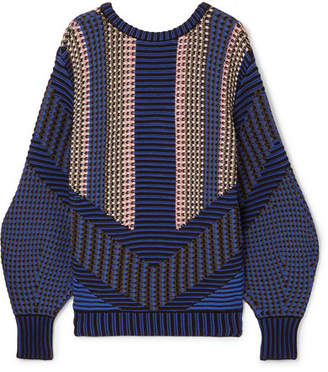 Cotton-blend Jacquard Sweater - Navy