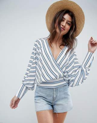 Asos Design DESIGN batwing plunge long sleeve top in blue & white stripe