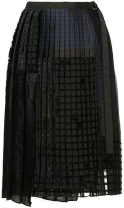 Sacai geometric pleated skirt