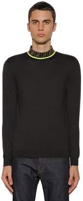Fendi Wool Knit Sweater W/ Ff Collar