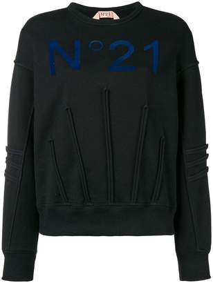 No.21 piped details logo sweater