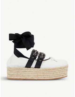 Miu Miu Buckled leather espadrille flatforms