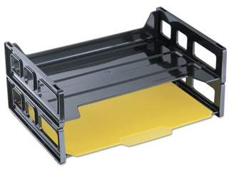 Universal Side Load Letter Desk Tray, Two Tier, Plastic, Black -UNV08100