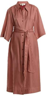 Diane von Furstenberg Striped Silk Twill Midi Dress - Womens - Burgundy Stripe