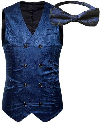 auguswu Double Breasted Slim Fit Paisley Vest Bow for Mens Tuxedos Waistcoat M