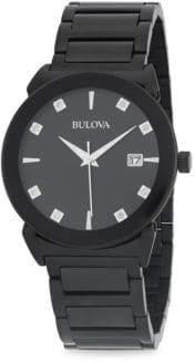 Bulova Black Stainless Steel & Diamond Bracelet Watch