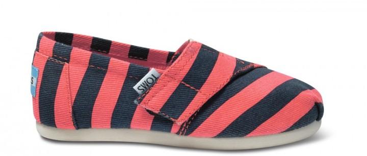 Toms Coral & blue stripe tiny canvas classics