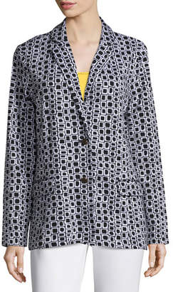 Joan Vass Geometric Jacquard Interlock Jacket
