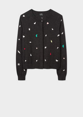 Paul Smith Women's Charcoal Grey Embroidered 'Urban Jungle' Motif Wool-Blend Cardigan