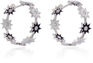 Colette Jewelry 18K White Gold Enamel And Diamond Hoop Earrings