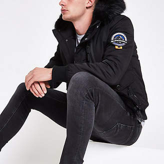 River Island Superdry black faux fur hood bomber jacket