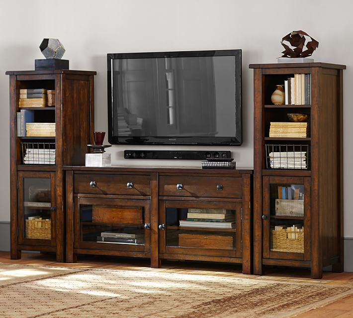 Benchwright Media Suite with Towers, Rustic Mahogany