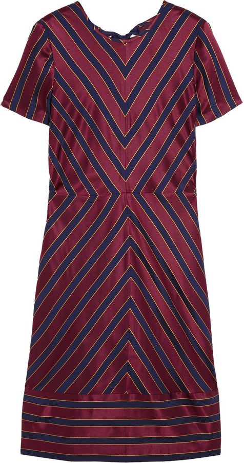 J.Crew Collection chevron-striped silk-satin dress