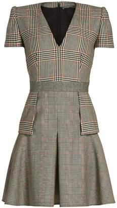 Alexander McQueen Peplum-waist Prince of Wales-checked wool dress