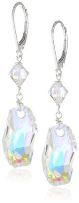Swarovski Elements Aurora Borealis Meteor with Sterling Silver Lever Backs Drop Earrings