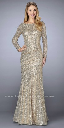 La Femme Fully Sequined Long Sleeve Trumpet Evening Dress $438 thestylecure.com