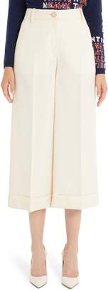 Valentino Stretch Wool Gabardine Cuffed Crop Pants