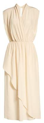 Vince Draped Silk Cross Front Dress