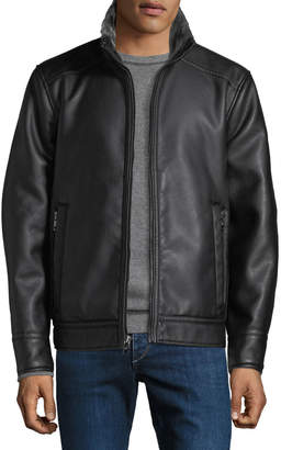Iconic American Designer Men's Pebbled Faux-Leather Shearling-Trim Jacket